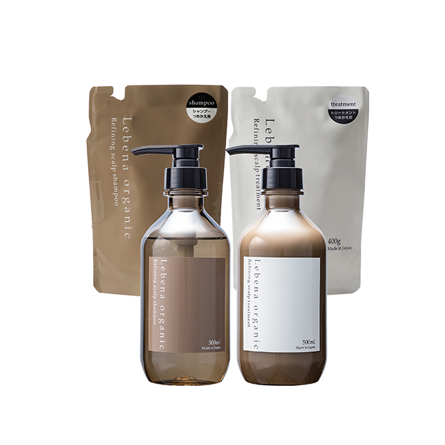 【セット】Refining scalp shampoo&treatment ボトル&詰め替え4点セット