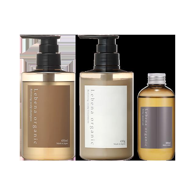 【セット】Refining scalp shampoo&treatment&Silky moist oil 3点セット