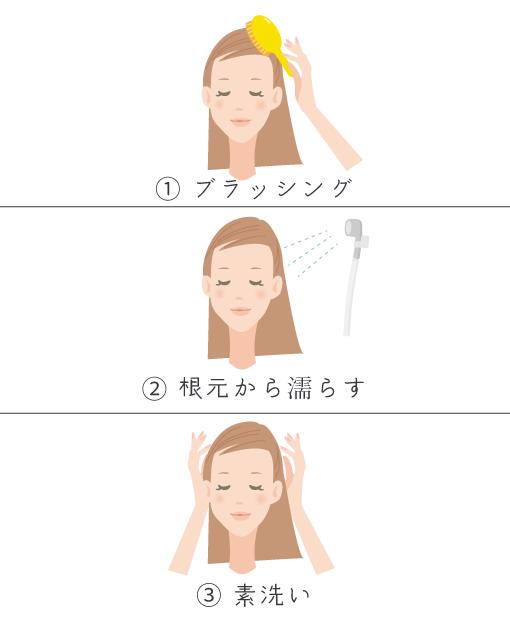 正しい髪の洗い方①ブラッシング、予洗いのやり方