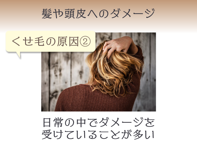 くせ毛は髪や頭皮へのダメージが原因のことも。シャンプーやドライヤー、アイロン、カラーなど日常の中でダメージを受けていることが多い
