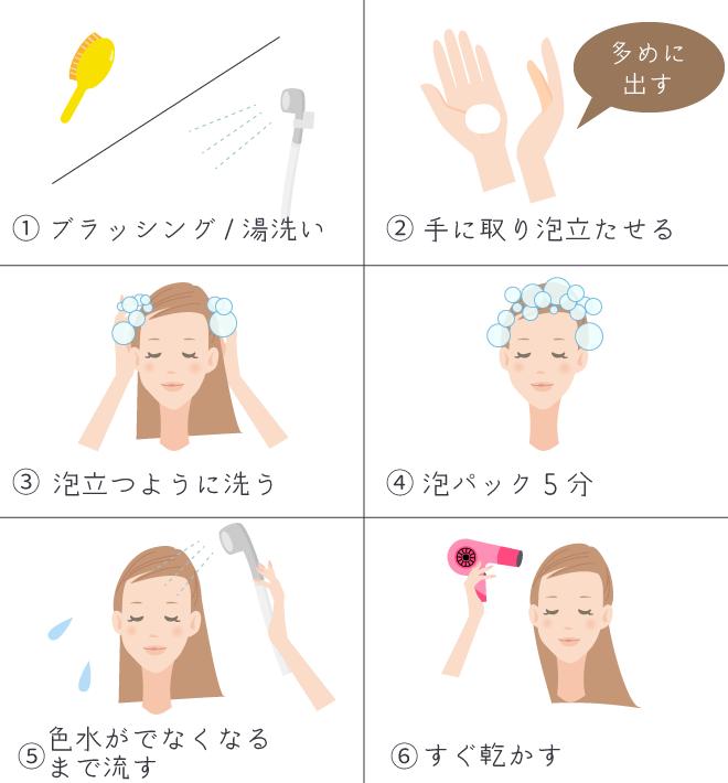 白髪染めシャンプーの正しい使い方