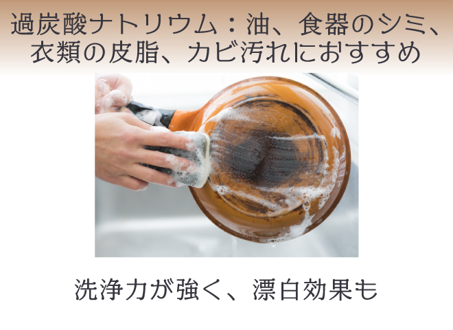 アルカリ性の過炭酸ナトリウム:油、食器、衣類の皮脂、カビ汚れにおすすめ