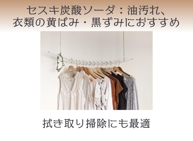 セスキ炭酸ソーダ:油、衣類の黄ばみや黒ずみにおすすめ。拭き取り掃除にも
