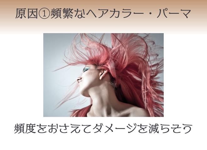 (上段) 原因①頻繁なヘアカラー・パーマ (下段)頻度をおさえてダメージを減らそう