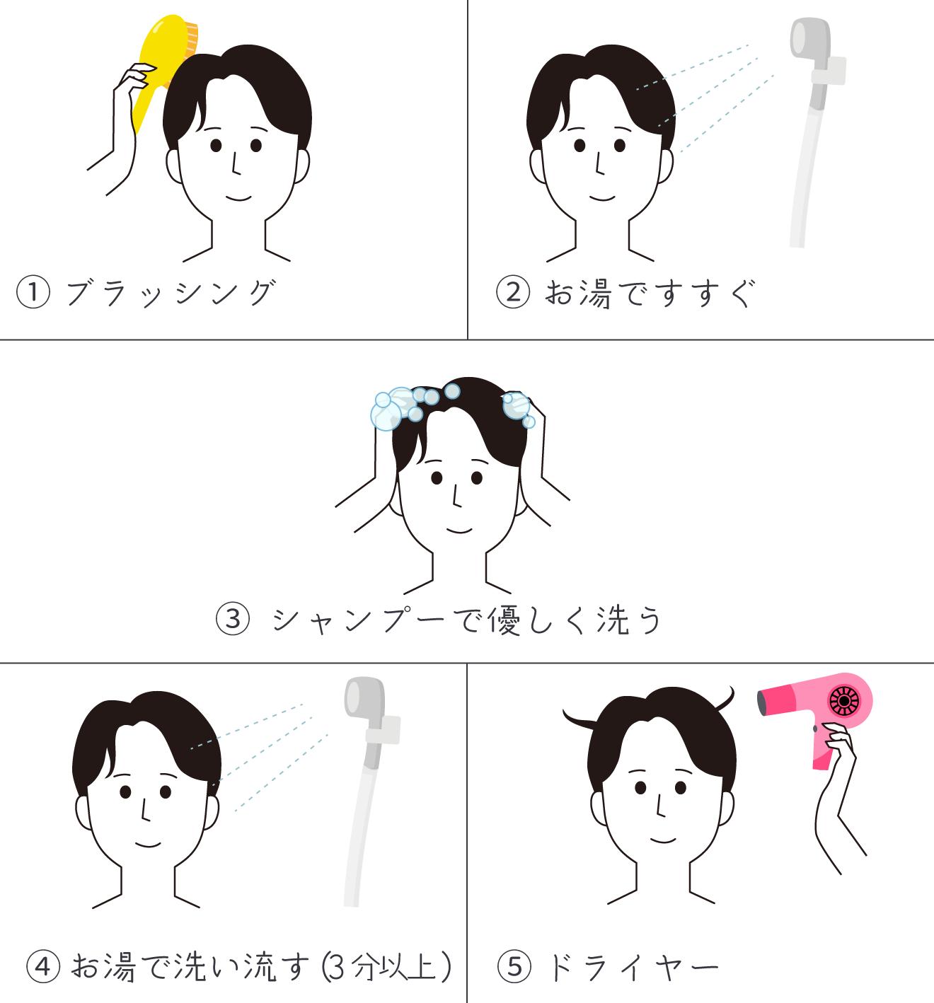 ①ブラッシング ②お湯ですすぐ ③シャンプーで優しく洗う ④お湯で洗い流す(3分以上) ⑤ドライヤー