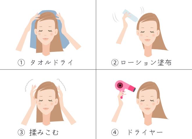 頭皮ローション方法の説明