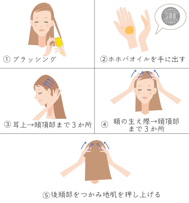 ホホバオイルを使った頭皮マッサージ方法