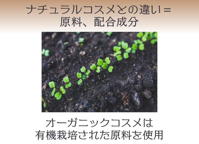 ナチュラルコスメ・ミネラルコスメとの違いは、有機栽培された植物成分を使っているかどうか。=原料や配合成分の違い